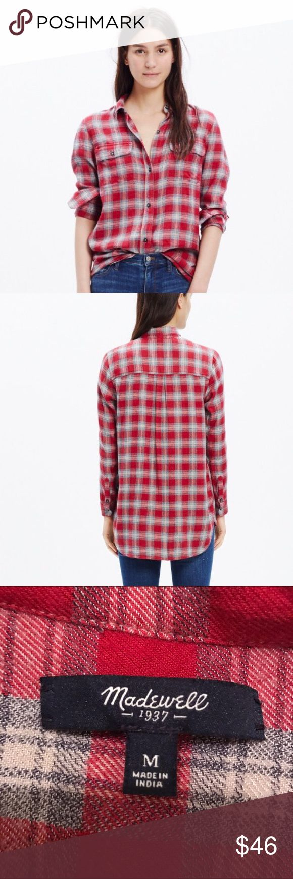 Madewell Ex-Boyfriend Plaid Shirt Madewell plaid-button down shirt in a super soft fabric. Shirttail hem. Only worn a couple times - great condition! Madewell Tops Button Down Shirts