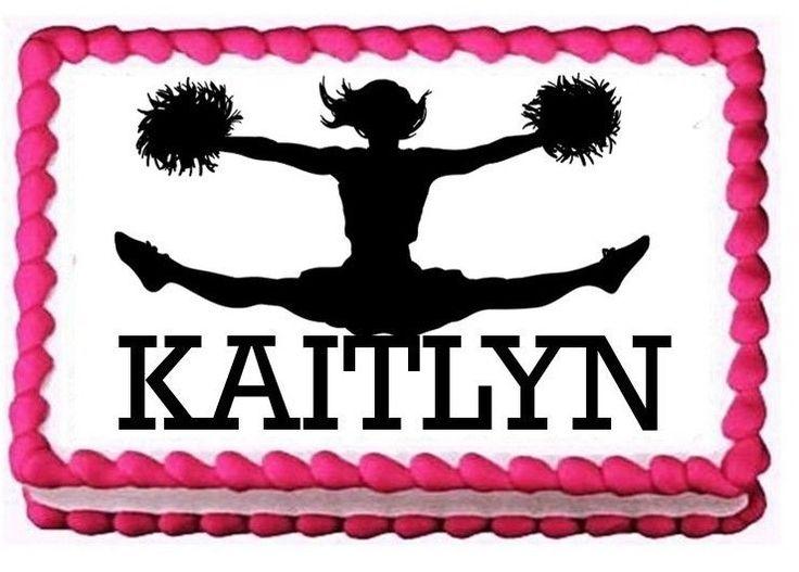 Cheerleader Happy Birthday Personalized Edible Quarter Half Sheet Cake Image