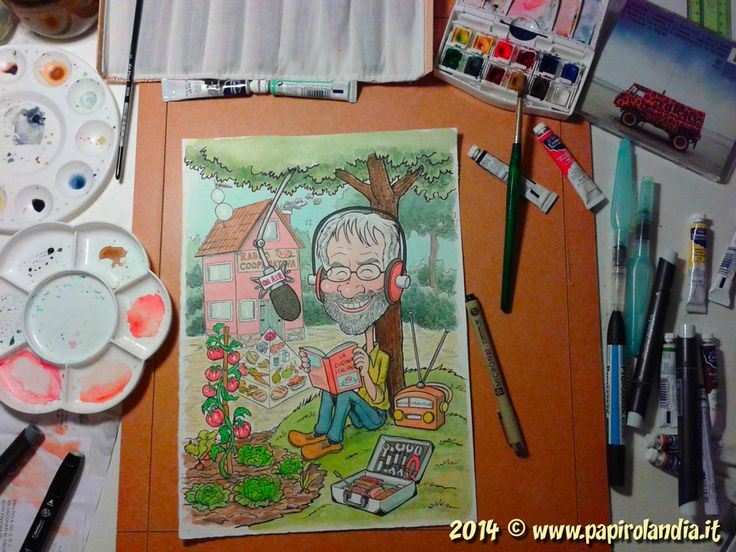 Gianmaria Bozzolan © 2014 Commisioned caricature in watercolor - the work in progress  http://www.papirolandia.it