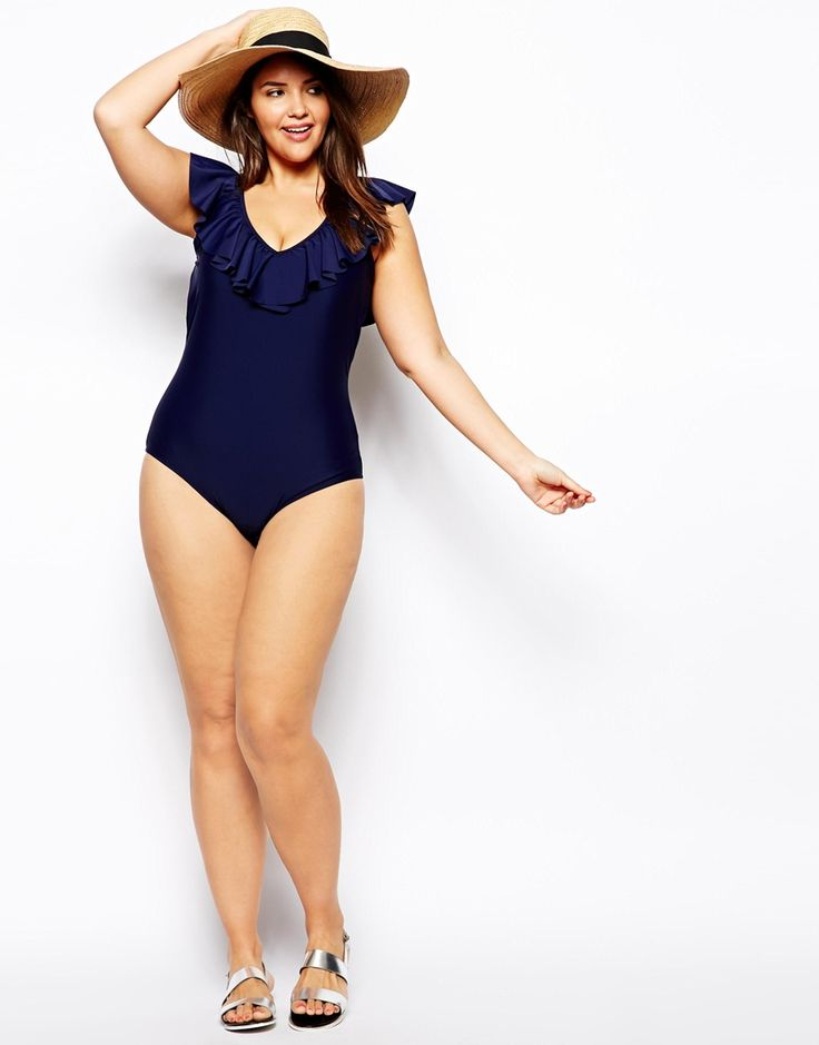 ASOS CURVE - Swimsuit With Deep Ruffle Plunge