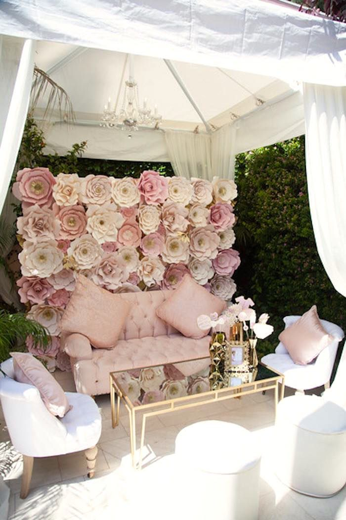 Lounge area + paper flower photo backdrop wall from a Pink Tutu Cute Themed Ballerina Baby Shower via Kara's Party Ideas | KarasPartyIdeas.com - The Place for All Things Party! (50)