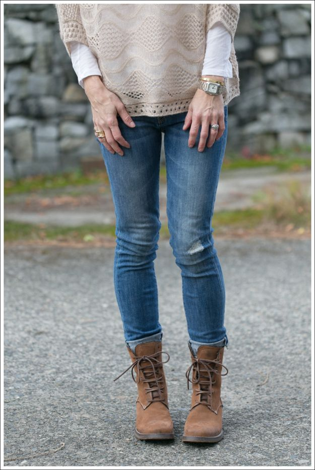 StyleMint Sage Sweater + Vince Destroyed Skinny Jeans + Lace up Boots
