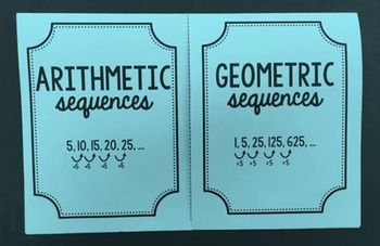 This foldable provides an organized way of taking notes. It easily compares the rules and examples for arithmetic and geometric sequences.An answer key is included!This foldable is also included in The Ultimate Foldable Bundle for 8th Grade Math, Pre-Algebra, and Algebra 1!