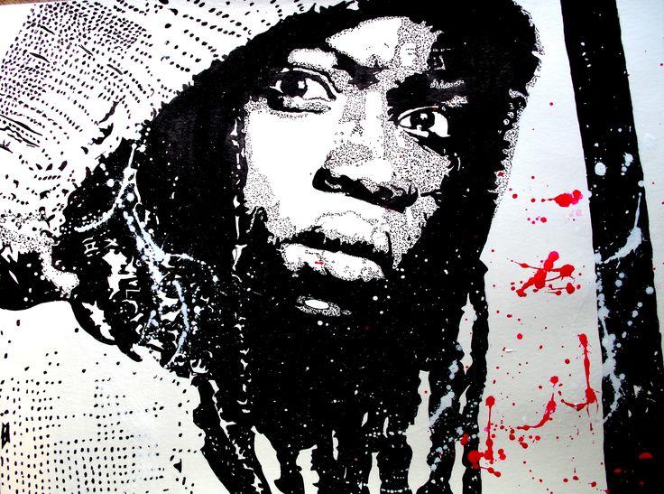 Michonne de la série The Walking dead. Portrait à l'encre de chine. Outils : Pinceaux et cure-dent. Papier en coton bambou format 36x48 cm.