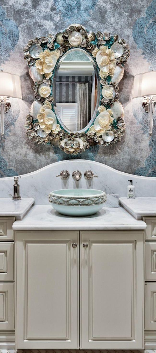 Decor nautical shell mirrors w sea glass starfish amp pearls blue - Beach House