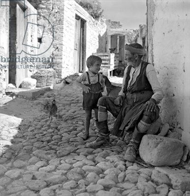 Old man with a boy, Crete, c.1950 (b/w photo), Papaioannou, Voula