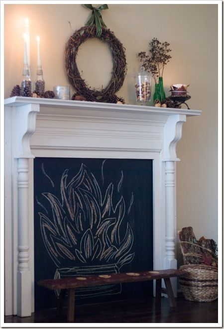 fireplace - chalkboard paint interior?