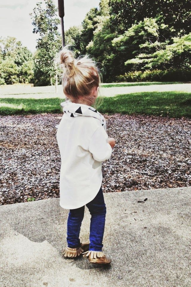 Printed scarf with white dress shirt top on dark blue leggings and moccasins for girls