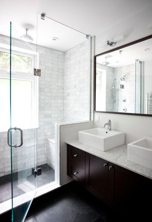Like the white marble shower and dark slate floor and for How to clean a marble shower