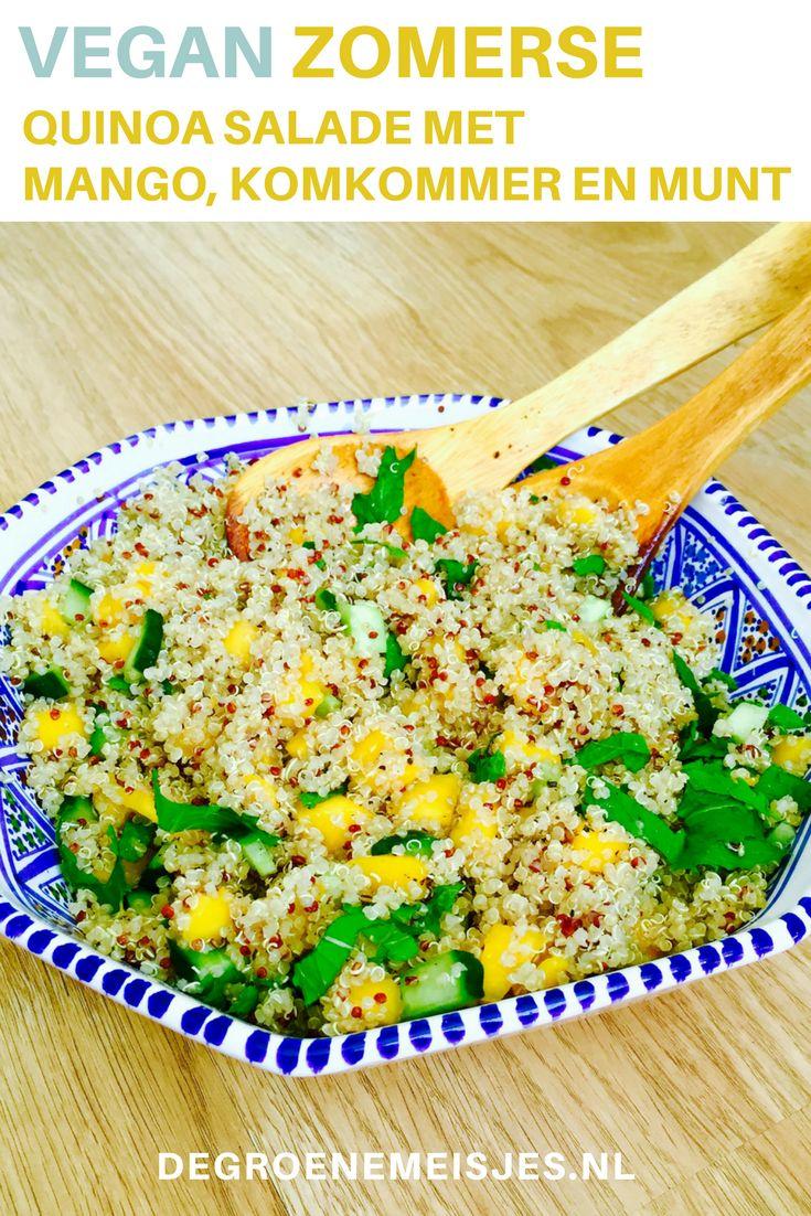 Vegan recept voor zomerse quinoa salade met mango, komkommer en munt. Door gastblogger Sanne van www.hetgrotegroenegeluk.nl