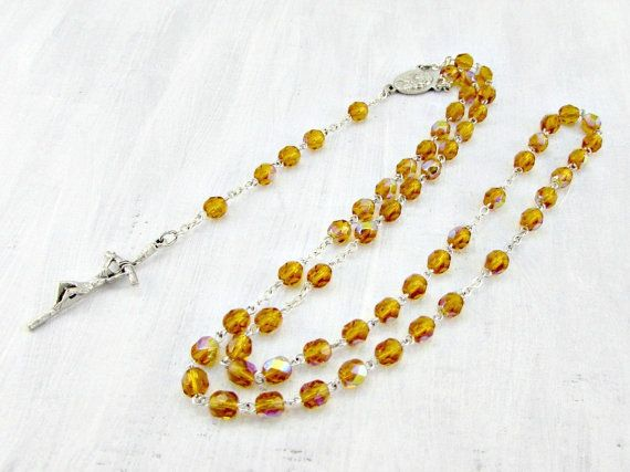 Vintage Pope John Paul II Rosary Necklace, Orange Glass Crystal Rosary Necklace, Silver Catholic Rosary Necklace, 1980s Christian Jewelry by RedGarnetVintage