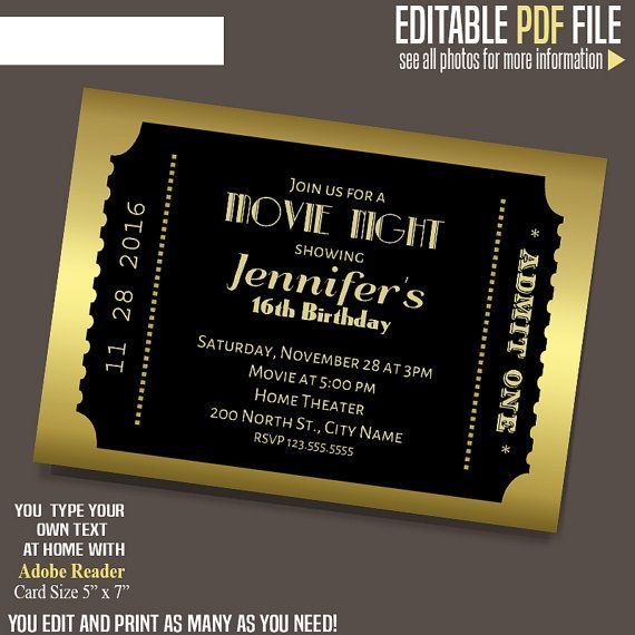 Movie ticket Invitation Gold and black ticket template