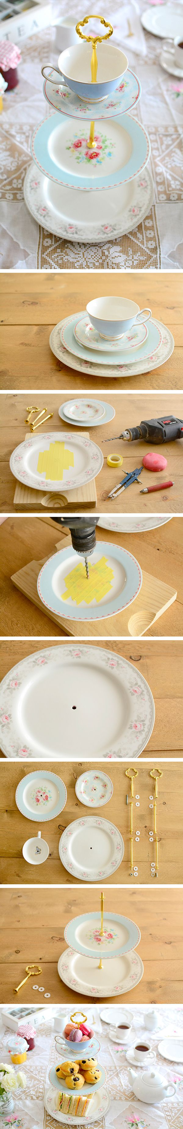 DIY: Cake stand with plates and teacup - Cake stand con platos y taza
