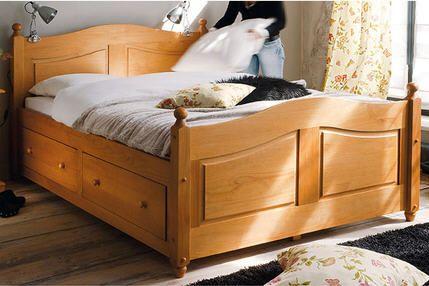Lit 140 x 190 cm + tiroirs Norman - Miel prix promo La Maison de Valerie 629,99 € TTC