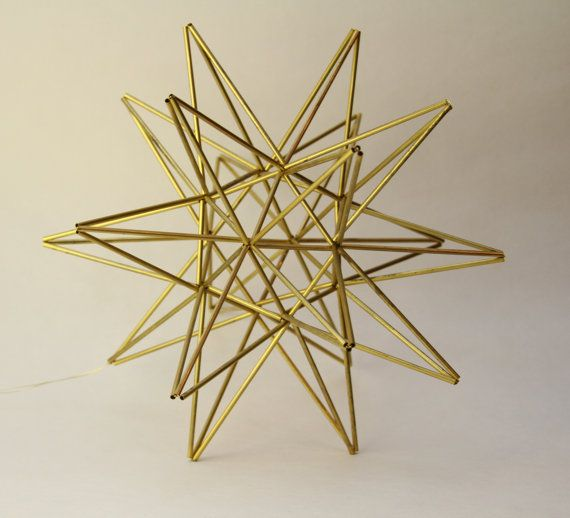 "Moravian Star Brass mobile - Scandinavian sculpture - 11"" sphere (28 cm)"