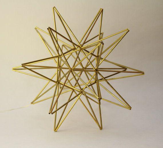 "Moravian Star Brass mobile - Scandinavian sculpture - 11"" sphere (28 cm)"