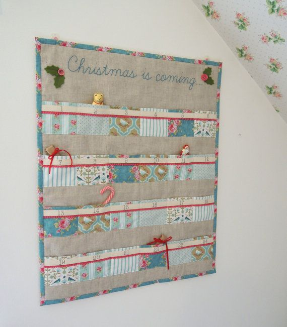 Christmas advent calendar Tilda teal and pink by SewSweetViolet