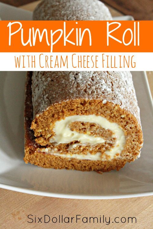 Pumpkin Roll with Cream Cheese Frosting Recipe - Sweet, creamy and bursting with pumpkin flavor, this Pumpkin Roll with Cream Cheese Filling recipe is the perfect taste of fall!