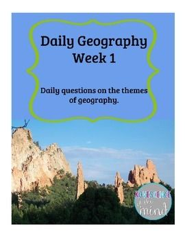 Free social studies bell work based on the five themes of geography: location, region, movement, place, and human-environment interaction.  Two questions for each day of the week.  Answer key included.Check out my other Social Studies  products:Budget Unit ProjectCurrent Event: Crime and DrugsCore Democratic Value BookConstitution UnitCurrent Event Write Up FreebieThis work is licensed under a Creative Commons Attribution-Noncommercial-No Derivative Works 3.0 United States License.