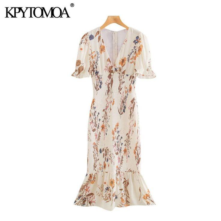kpytomoa women 2020 chic fashion floral print ruffled sheath
