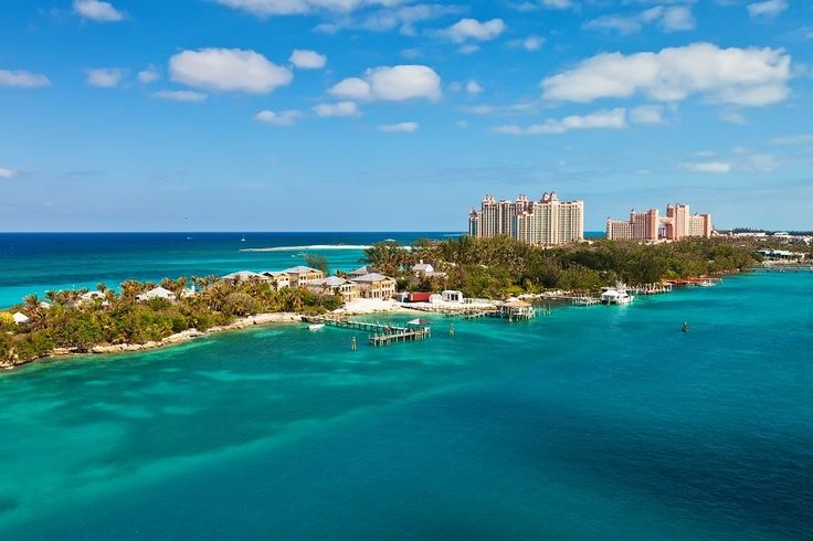 Long stretch of Paradise Island, located in Nassau - Bahamas