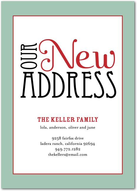 an elegant way to announce your new address to family and friends