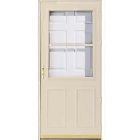 Pella 36 in x 81 in poplar white olympia high view safety for Pella retractable screen door