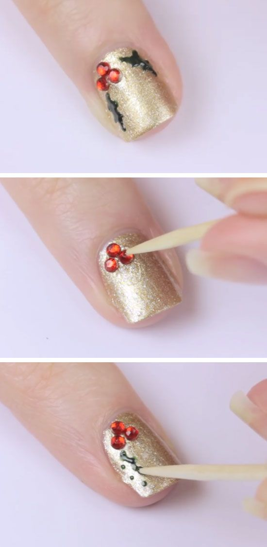 Holly | Click Pic for 20 Easy Christmas Nails Art Designs Winter | Easy Nails…