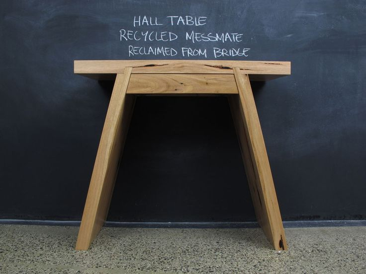 Recycled Messmate Splayed Leg Single Drawer Hall Table.