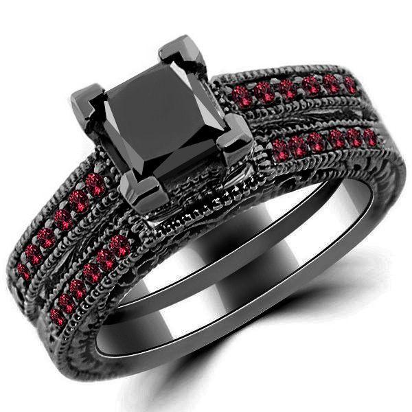Princess Black Diamond Ruby Engagement Ring Set 14k Black Gold In 2020 Princess Black Diamond Ruby Engagement Ring Set Ruby Engagement Ring