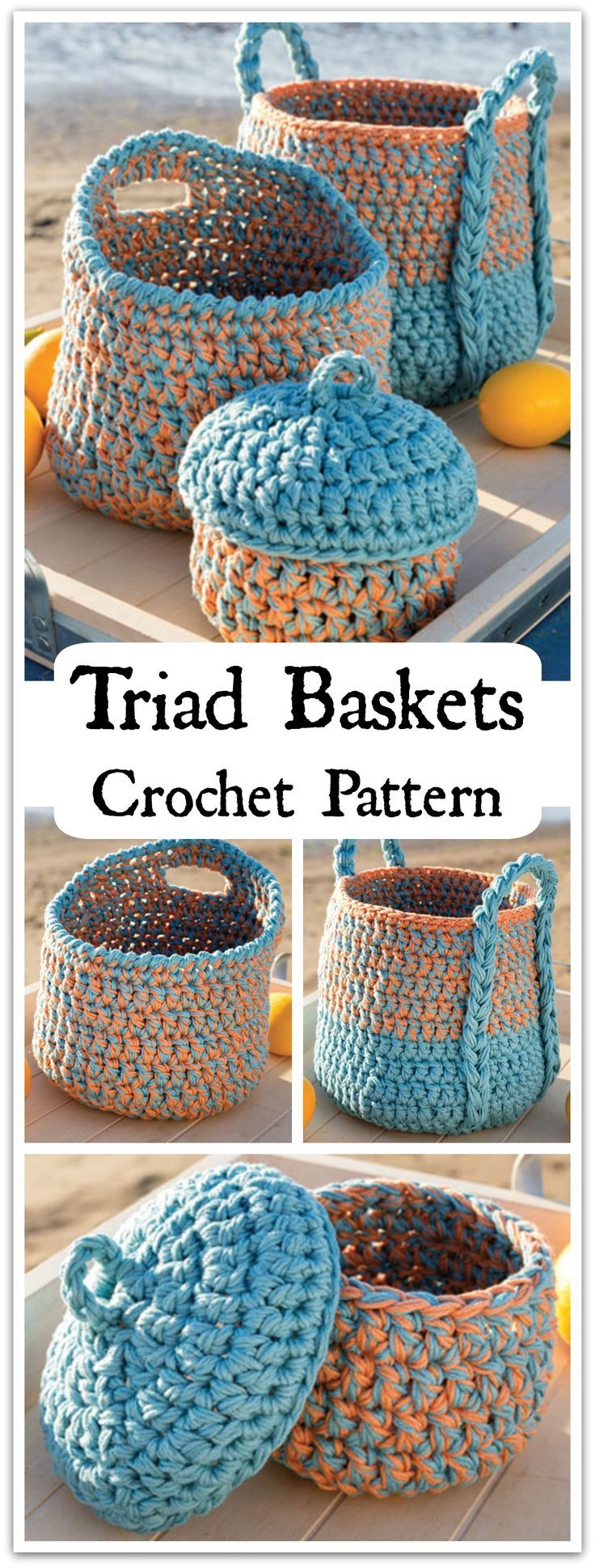Time to get organized! Sort your yarn stash and crafts with this handy basket trio. Instant PDF download. #ad #affiliate #crochet #pattern