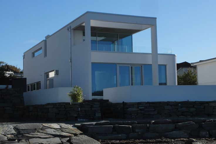 White concrete house. Stavanger, Norway.