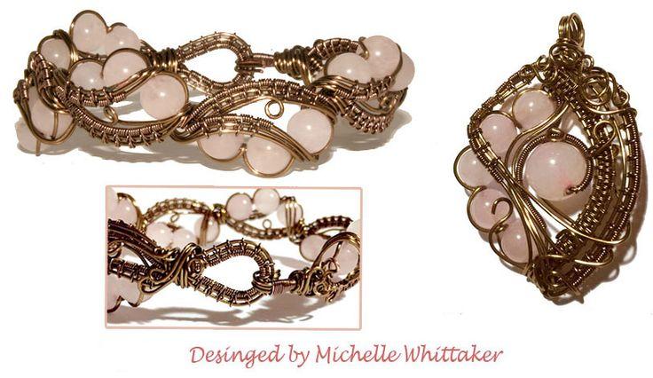 Wire Weave Bracelet with Rose Quartz Focals