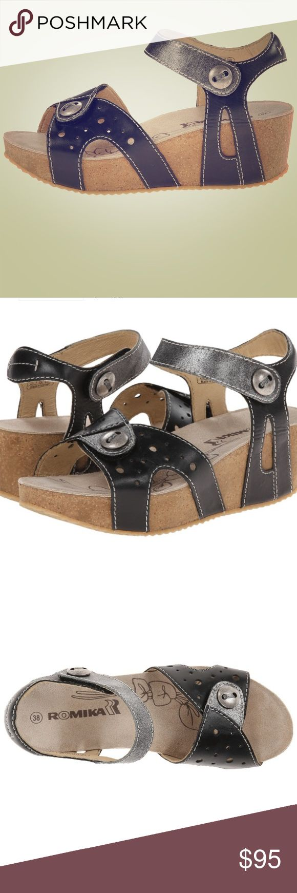 Never worn Romika sandals!! Super cute Romika sandals with platform wedge heel and cute metal accents. Extremely comfortable with adjustable straps for optimum fit. Romika  Shoes Sandals