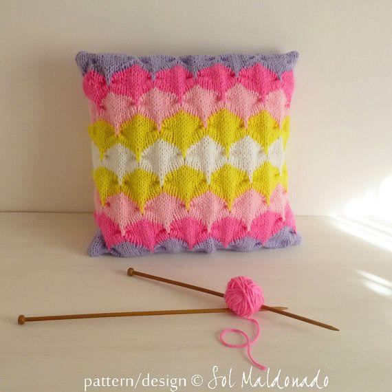 Geometric Cushion Knitting Pattern : Geometric Pillow Knitting Pattern PDF Home decor warm knitted cushion for? ...