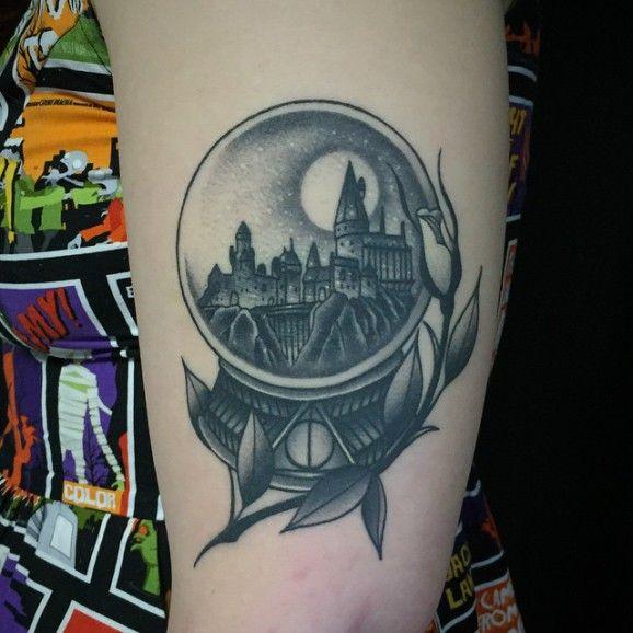 Hogwarts Snowglobe Tattoo by Javier Betancourt