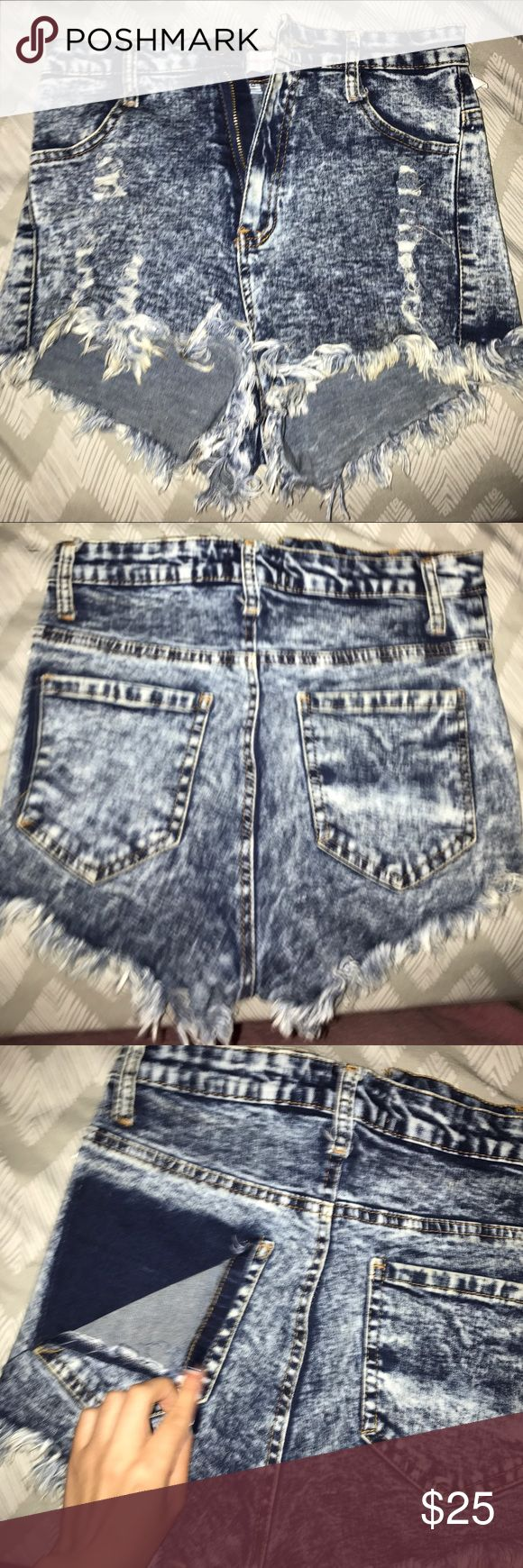 High waisted acid washed shorts Never worn, bought to wear to a music festival but ended up not wearing them. They do show your butt so if you're not into that these aren't for you Sorry!!! Size small but fit more like a medium sadly Forever 21 Shorts Jean Shorts