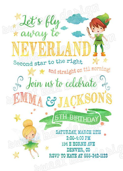 Neverland Birthday Invitation, Peter Pan Birthday Invitation, Second Star to the Right, Tinkerbell Birthday Invitation, Neverland Party All information color, text and font can be changed and customized for you. This listing is for a 4x6 or 5x7 Neverland Invitation digital file. You print yourself. Want matching ITEMS: https://www.etsy.com/shop/SweetBeeDesignShoppe/search?search_query=matching&order=date_desc&view_type=list&ref=shop_...