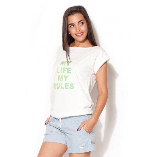 Bílá trička dámská se zeleným textem - manozo.cz