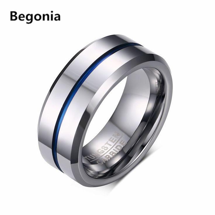 Moda uomo tungsten carbide anelli per gli uomini matte wedding band con argento blu groove e interno biker gioielli