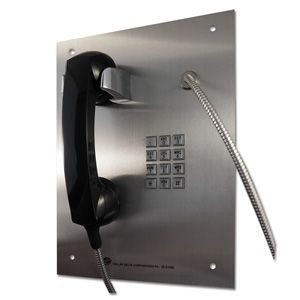 prison phone with stainless steel panel amorted cord and tough handset. A telephone designed to be punished.