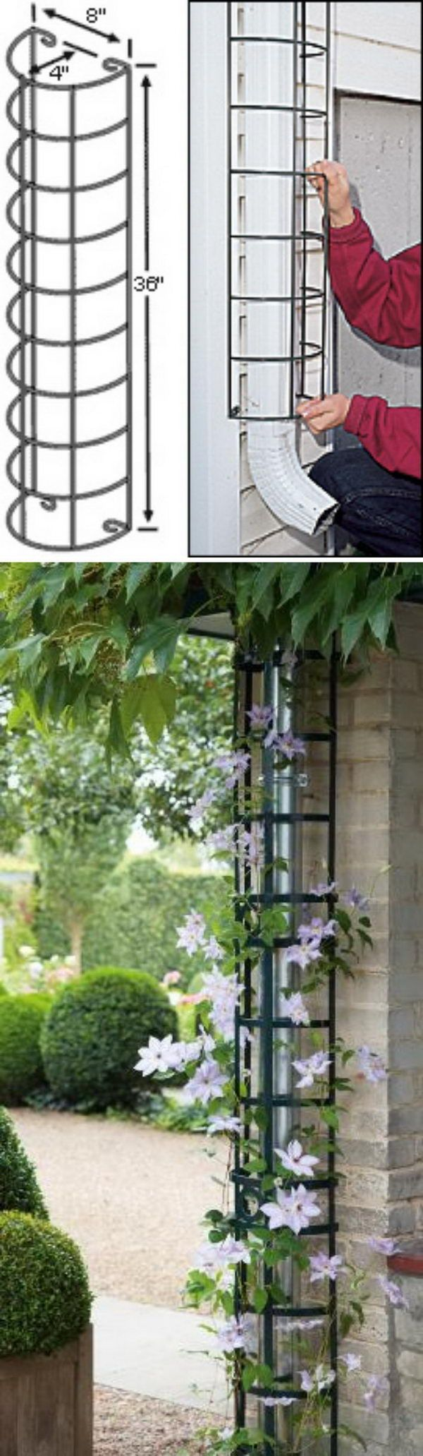 Hide The Downspout With A Trellis.