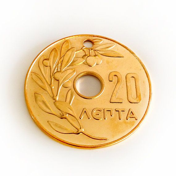 Greek Old 20 Cents Coin Oversize 1969 Replica Gold by HabitHobby