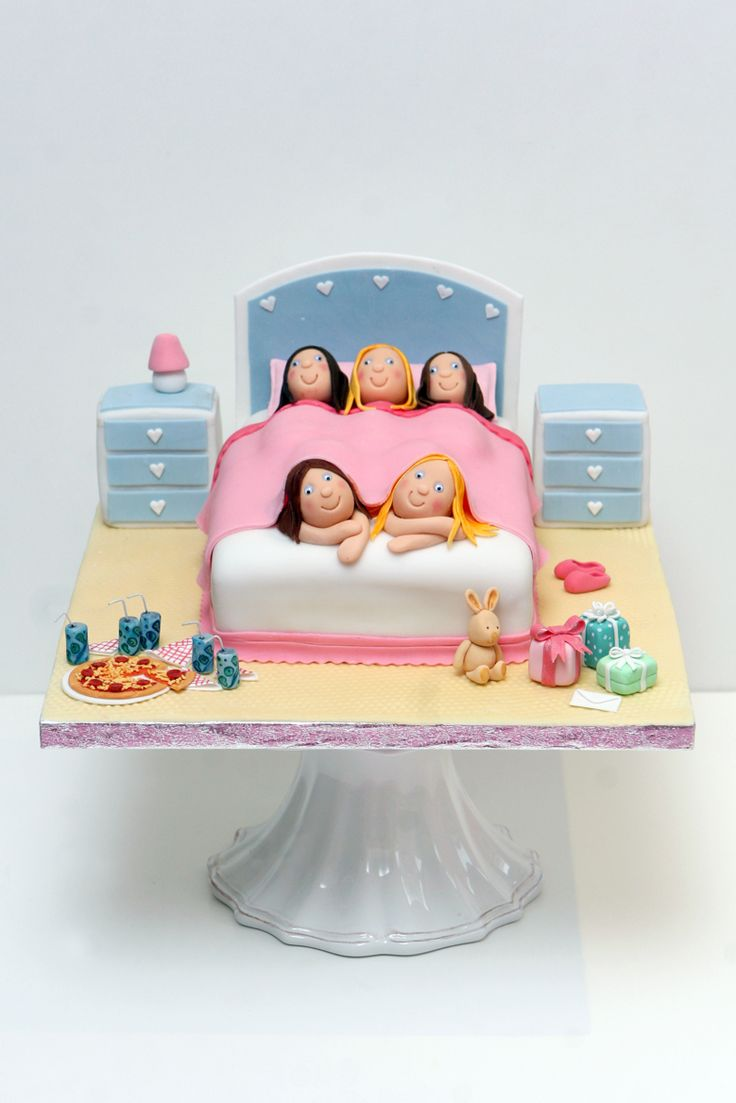 My daughter's sleep over party cake - inspired by a couple I've seen on Flickr.