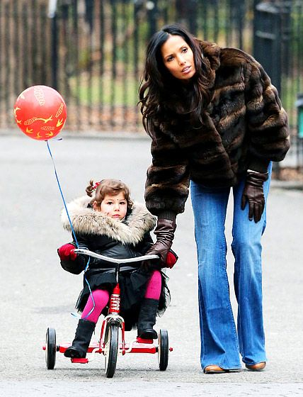 Padma Lakshmi picked up her daughter, Krishna Thea, from a pal's birthday party in New York City Jan. 17.