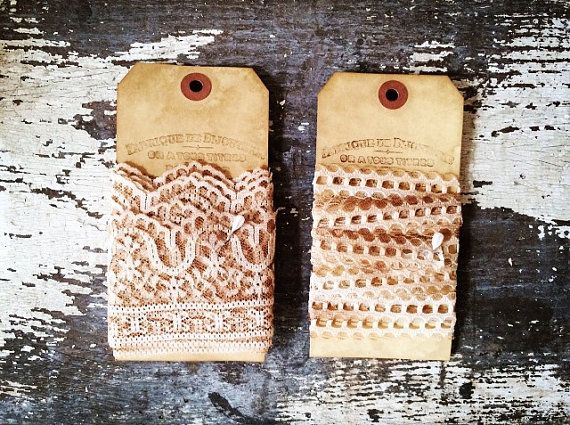 Vintage Lace - Set of 2 - French Inspired Lace - Hand-Dyed, - (4 yards) - Elegant Gift Tags - Merci - xo, j&L (LAC 012)