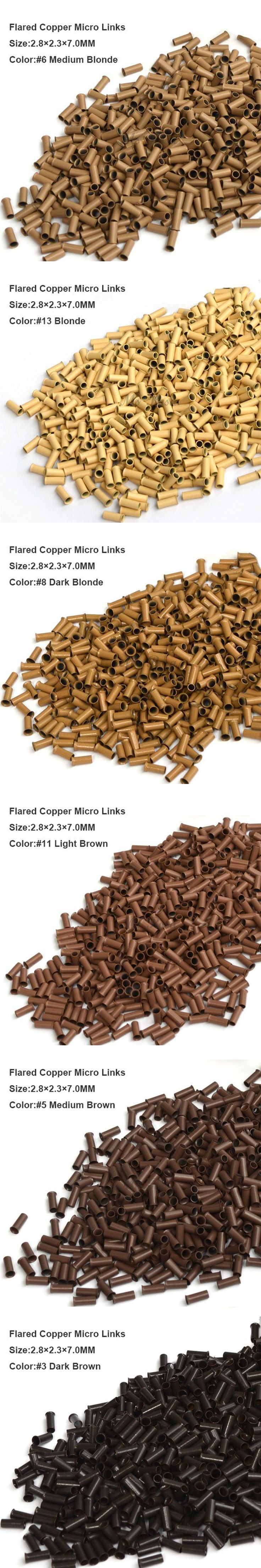 Copper Micro Beads 2.8*2.3*7.0MM 1000Pcs/Bottle #3 Dark Brown Micro Rings Micro Bead Hair Extensions Accessories