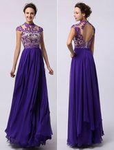 Púrpura real en niveles vestido de Gasa rebordear Tonal y ojo de la cerradura detrás - Milanoo.com