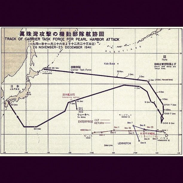 Route followed by the Japanese fleet on this day in 1941.
