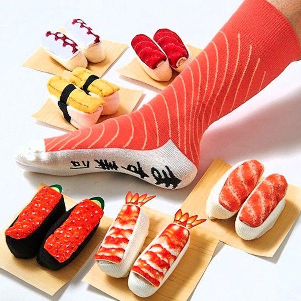 Des chaussettes-sushis, pour les vrais fans de riz et de poisson cru